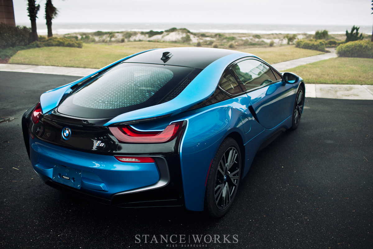 blue bmw i8 car