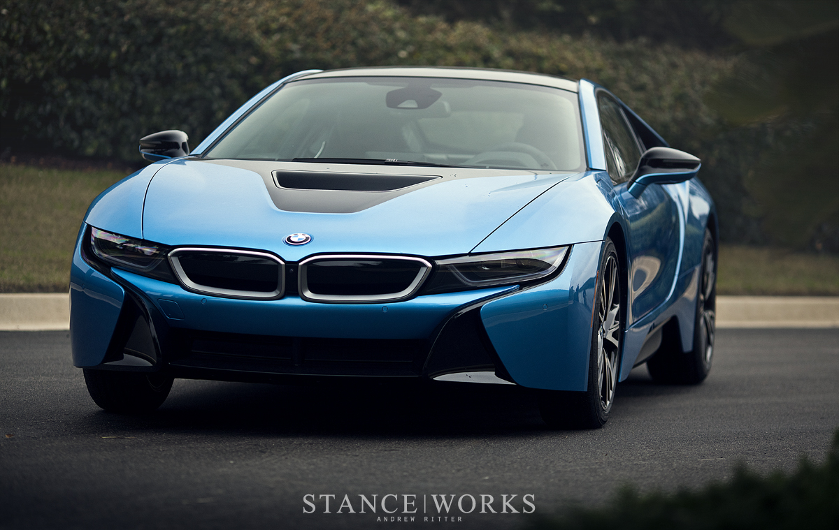blue bmw i8 exotic